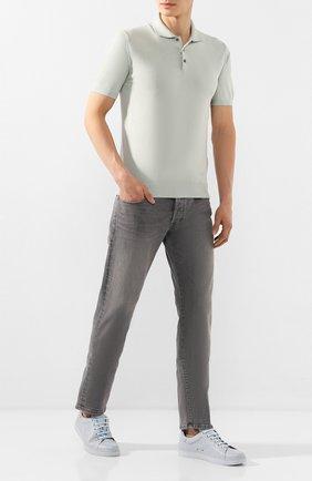 Мужские кожаные кеды GIANVITO ROSSI голубого цвета, арт. S26340.M1CL0.B0XCL0U | Фото 2