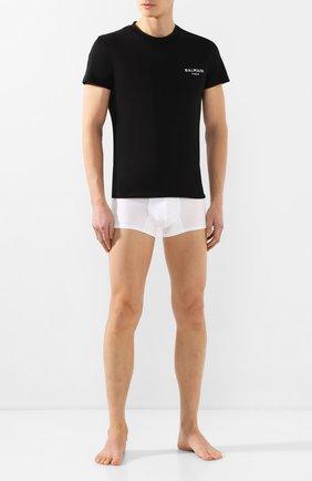 Мужские хлопковая футболка BALMAIN черного цвета, арт. BRM305060 | Фото 2