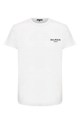 Мужские хлопковая футболка BALMAIN белого цвета, арт. BRM305060 | Фото 1