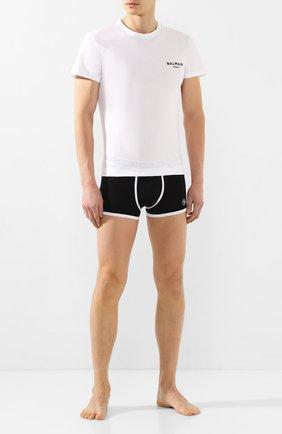 Мужские хлопковая футболка BALMAIN белого цвета, арт. BRM305060 | Фото 2