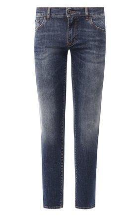 Мужские джинсы DOLCE & GABBANA синего цвета, арт. GY07LD/G8BY5   Фото 1 (Материал внешний: Хлопок; Длина (брюки, джинсы): Стандартные; Кросс-КТ: Деним; Детали: Потертости; Силуэт М (брюки): Прямые)