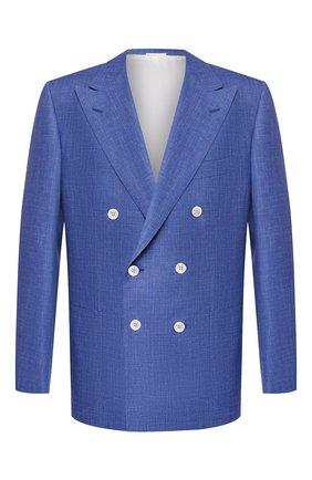 Мужской пиджак из смеси шерсти и шелка KITON голубого цвета, арт. UG85K06S68 | Фото 1