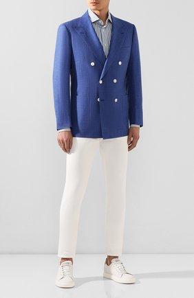 Мужской пиджак из смеси шерсти и шелка KITON голубого цвета, арт. UG85K06S68 | Фото 2