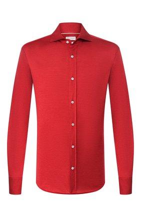 Мужская рубашка из шелка и хлопка BRUNELLO CUCINELLI красного цвета, арт. MTS466686 | Фото 1 (Материал внешний: Хлопок, Шелк; Рукава: Длинные; Длина (для топов): Стандартные; Случай: Повседневный; Воротник: Акула; Манжеты: На пуговицах; Мужское Кросс-КТ: Рубашка-одежда; Принт: Однотонные)