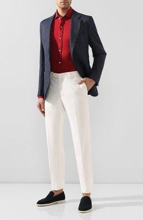 Мужская рубашка из шелка и хлопка BRUNELLO CUCINELLI красного цвета, арт. MTS466686 | Фото 2 (Материал внешний: Хлопок, Шелк; Рукава: Длинные; Длина (для топов): Стандартные; Случай: Повседневный; Воротник: Акула; Манжеты: На пуговицах; Мужское Кросс-КТ: Рубашка-одежда; Принт: Однотонные)