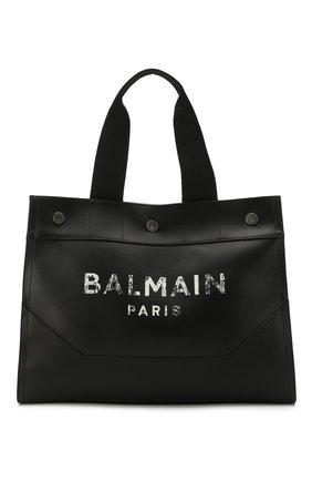 Мужская кожаная сумка-тоут BALMAIN черного цвета, арт. TM1S081/LVLA | Фото 1