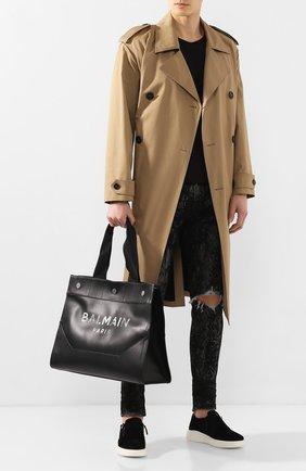 Мужская кожаная сумка-тоут BALMAIN черного цвета, арт. TM1S081/LVLA | Фото 2