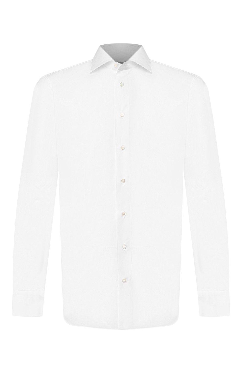 Мужская хлопковая сорочка ZILLI белого цвета, арт. MFT-MERCU-01703/RZ01 | Фото 1