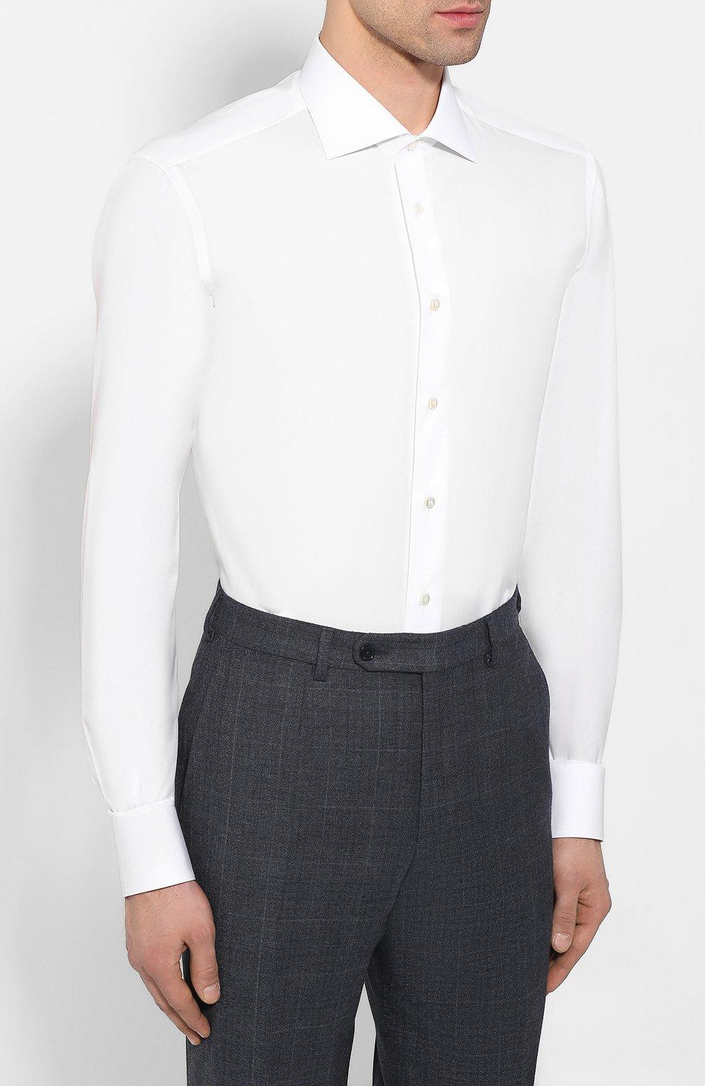 Мужская хлопковая сорочка ZILLI белого цвета, арт. MFT-MERCU-01703/RZ01 | Фото 3