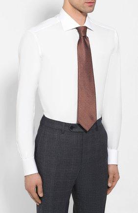 Мужская хлопковая сорочка ZILLI белого цвета, арт. MFT-MERCU-01703/RZ01 | Фото 4