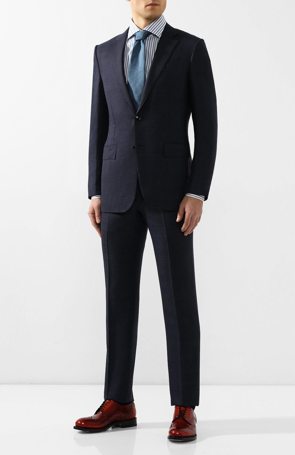 Мужская хлопковая сорочка ERMENEGILDO ZEGNA синего цвета, арт. 701208/9MS0BA | Фото 2