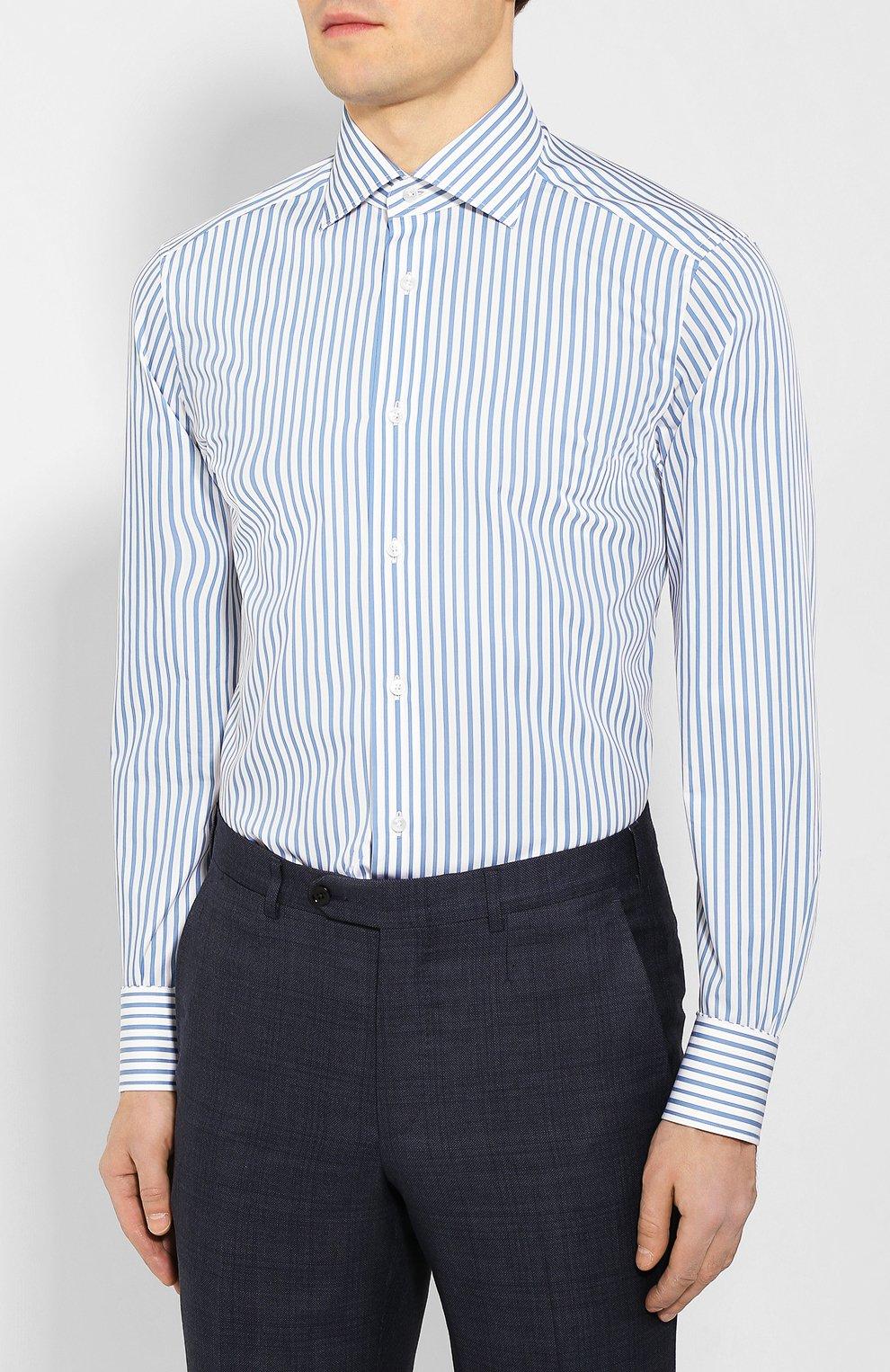 Мужская хлопковая сорочка ERMENEGILDO ZEGNA синего цвета, арт. 701208/9MS0BA | Фото 3