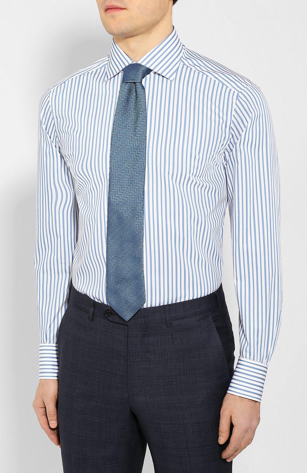 Мужская хлопковая сорочка ERMENEGILDO ZEGNA синего цвета, арт. 701208/9MS0BA | Фото 4