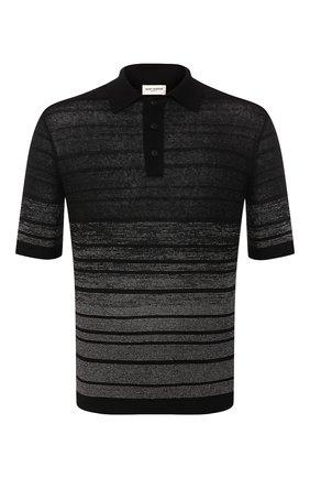 Мужское поло из смеси льна и вискозы SAINT LAURENT черного цвета, арт. 604881/YALS2 | Фото 1