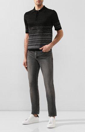 Мужское поло из смеси льна и вискозы SAINT LAURENT черного цвета, арт. 604881/YALS2 | Фото 2