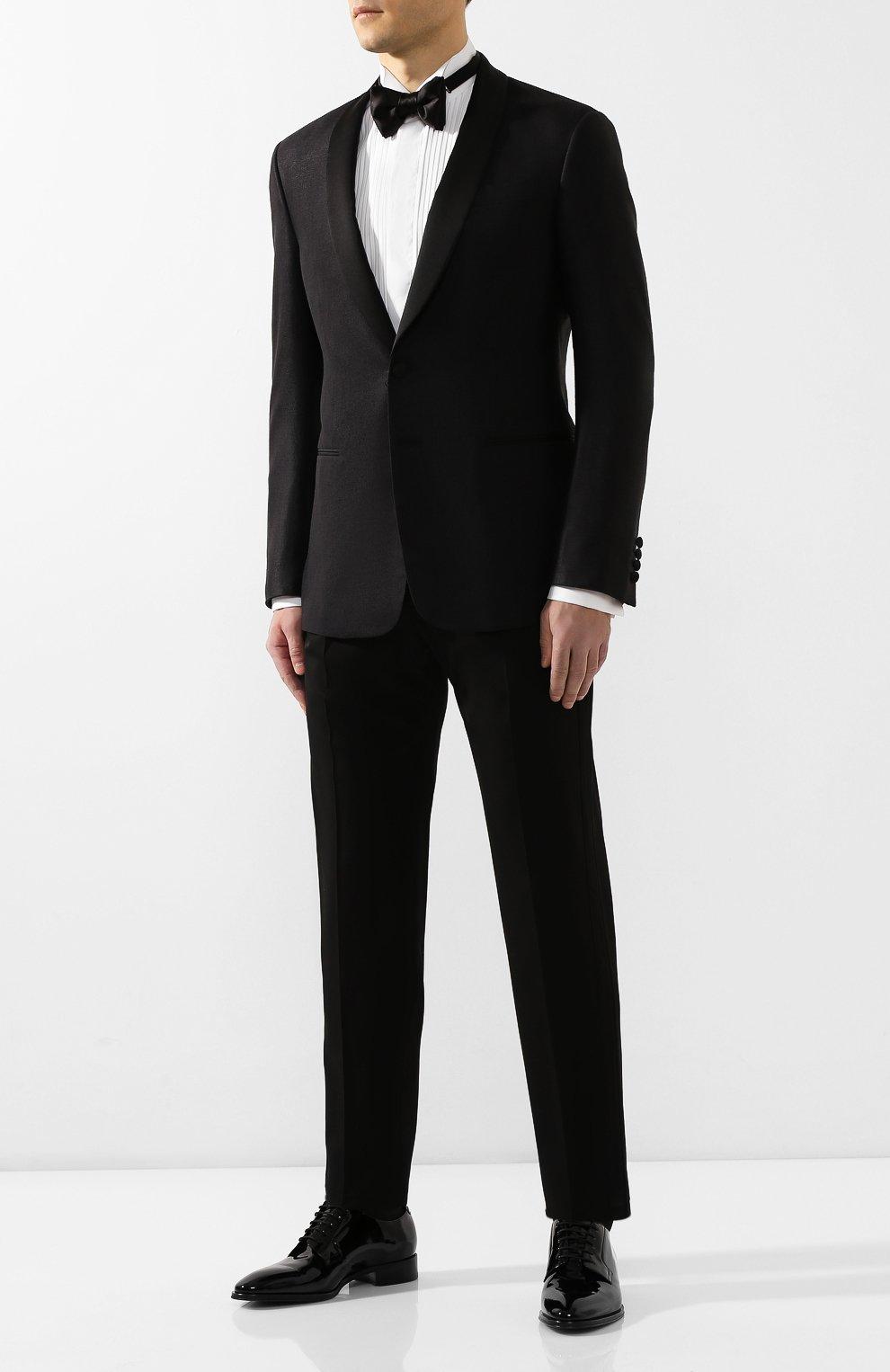 Мужские шерстяные брюки GIORGIO ARMANI черного цвета, арт. 0SGPP0B7/T0075   Фото 2