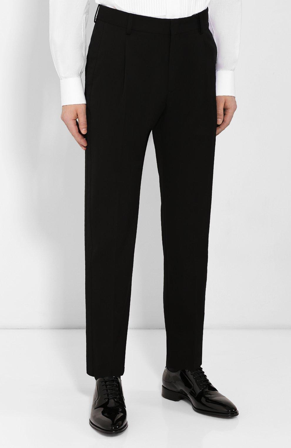 Мужские шерстяные брюки GIORGIO ARMANI черного цвета, арт. 0SGPP0B7/T0075   Фото 3