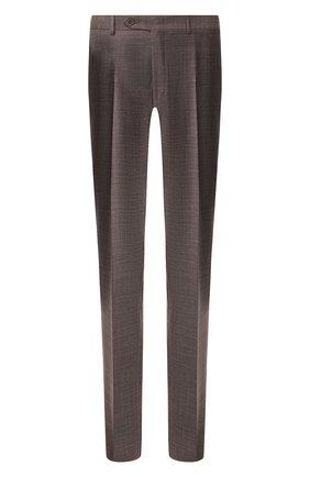 Мужские шерстяные брюки CANALI коричневого цвета, арт. 71019/AA02524   Фото 1 (Материал подклада: Вискоза; Материал внешний: Шерсть; Длина (брюки, джинсы): Стандартные; Случай: Формальный; Стили: Классический)