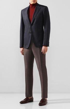 Мужские шерстяные брюки CANALI коричневого цвета, арт. 71019/AA02524   Фото 2 (Материал подклада: Вискоза; Материал внешний: Шерсть; Длина (брюки, джинсы): Стандартные; Случай: Формальный; Стили: Классический)