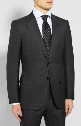 Мужской костюм из смеси шерсти и шелка ZEGNA COUTURE серого цвета, арт. 744N06/21L2N5 | Фото 2