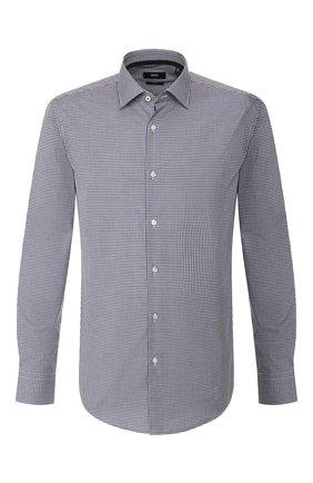 Мужская хлопковая сорочка BOSS темно-синего цвета, арт. 50421655 | Фото 1