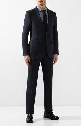 Мужская хлопковая сорочка BOSS темно-синего цвета, арт. 50421655 | Фото 2