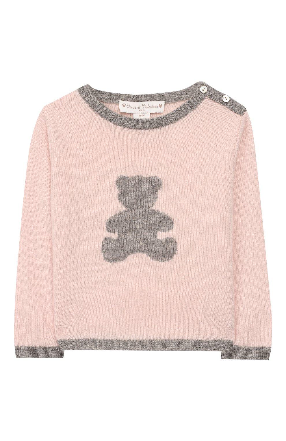 Детский кашемировый пуловер OSCAR ET VALENTINE розового цвета, арт. PULBEAR1S   Фото 1