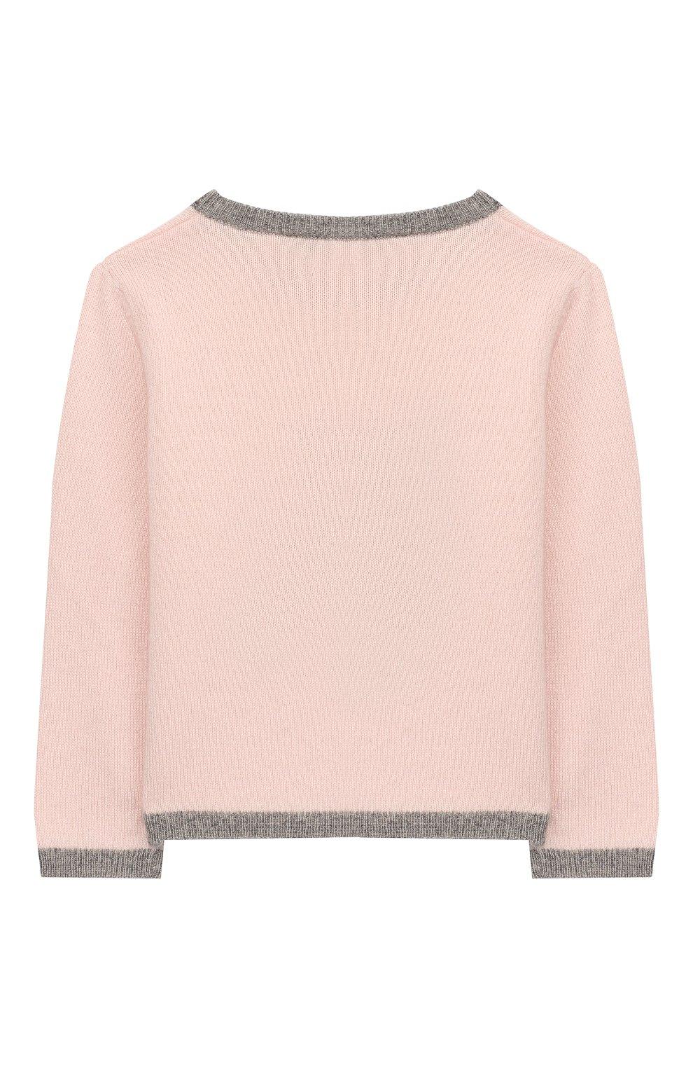 Детский кашемировый пуловер OSCAR ET VALENTINE розового цвета, арт. PULBEAR1S   Фото 2