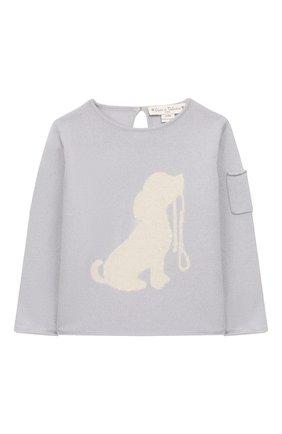 Детский кашемировый пуловер OSCAR ET VALENTINE синего цвета, арт. PUL01DOGS | Фото 1