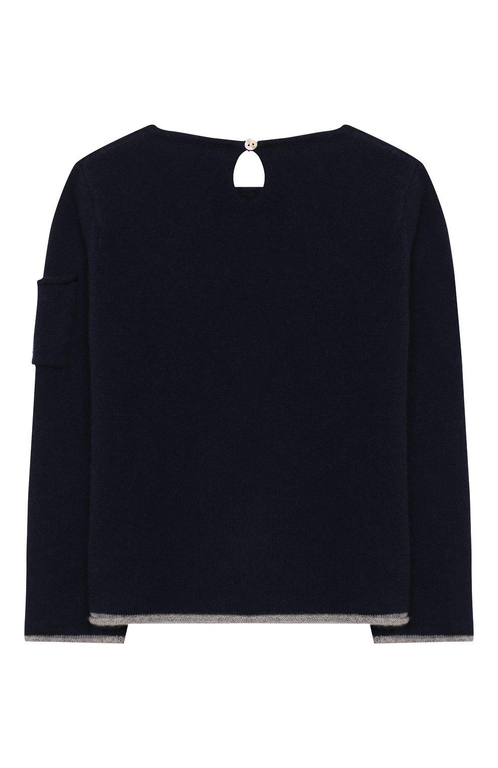 Детский кашемировый пуловер OSCAR ET VALENTINE синего цвета, арт. PUL01ROCKS   Фото 2 (Материал внешний: Шерсть; Рукава: Длинные)