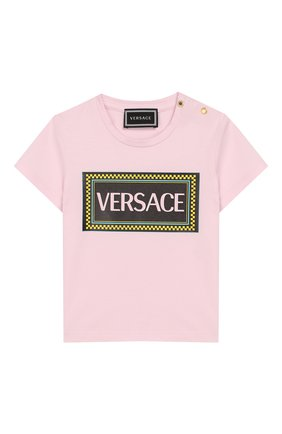 Детский хлопковая футболка VERSACE светло-розового цвета, арт. YA000150/YA00019 | Фото 1