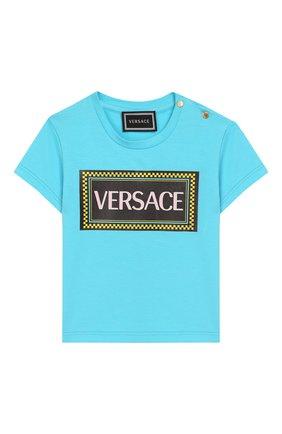 Детский хлопковая футболка VERSACE бирюзового цвета, арт. YA000150/YA00019 | Фото 1