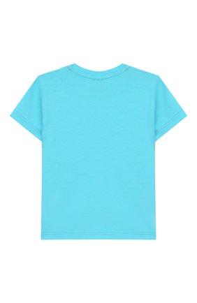 Детский хлопковая футболка VERSACE бирюзового цвета, арт. YA000150/YA00019 | Фото 2