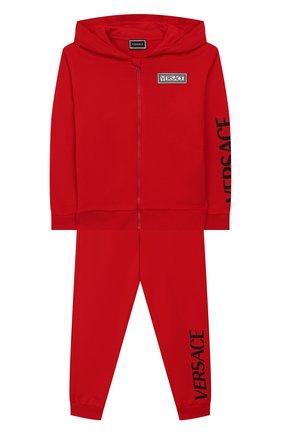 Детского комплект из толстовки и брюк VERSACE красного цвета, арт. YD000197/YA00078/4A-6A | Фото 1