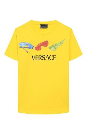 Детская хлопковая футболка VERSACE желтого цвета, арт. YD000201/YA00079/4A-6A | Фото 1