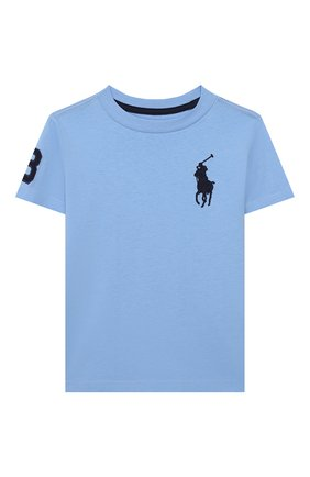 Детская хлопковая футболка POLO RALPH LAUREN голубого цвета, арт. 321770177 | Фото 1