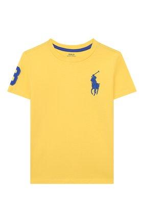 Детская хлопковая футболка POLO RALPH LAUREN желтого цвета, арт. 322770177 | Фото 1