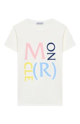 Детская хлопковая футболка MONCLER белого цвета, арт. F1-954-8C724-10-8790A/4-6A | Фото 1