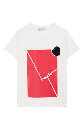 Детская хлопковая футболка MONCLER белого цвета, арт. F1-954-8C702-20-83907/4-6A | Фото 1