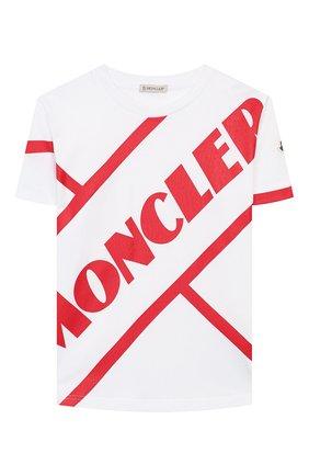 Детская хлопковая футболка MONCLER белого цвета, арт. F1-954-8C701-20-83907/8-10A | Фото 1
