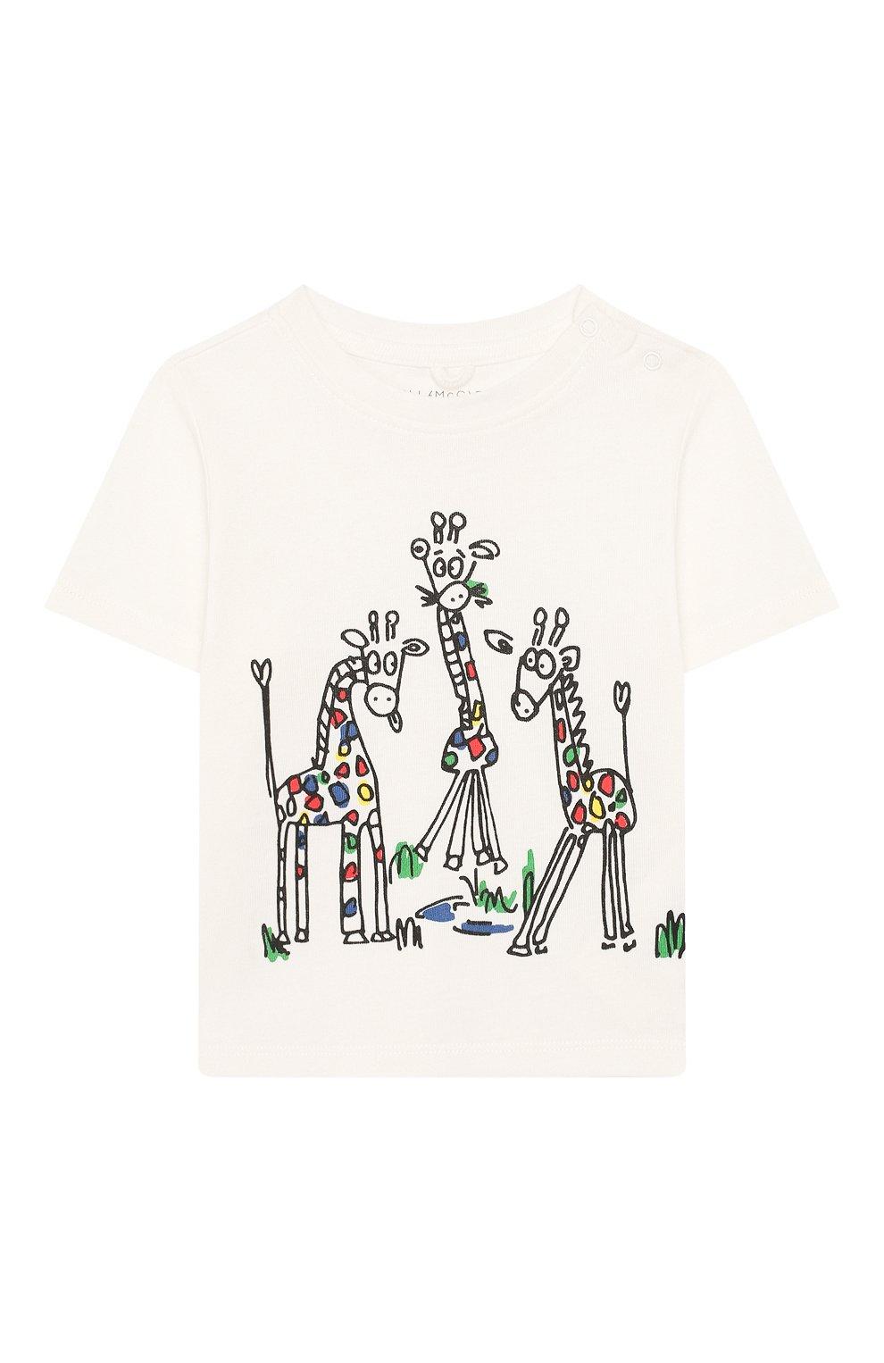 Детский хлопковая футболка STELLA MCCARTNEY белого цвета, арт. 588428/S0JB4 | Фото 1 (Рукава: Короткие; Материал внешний: Хлопок)