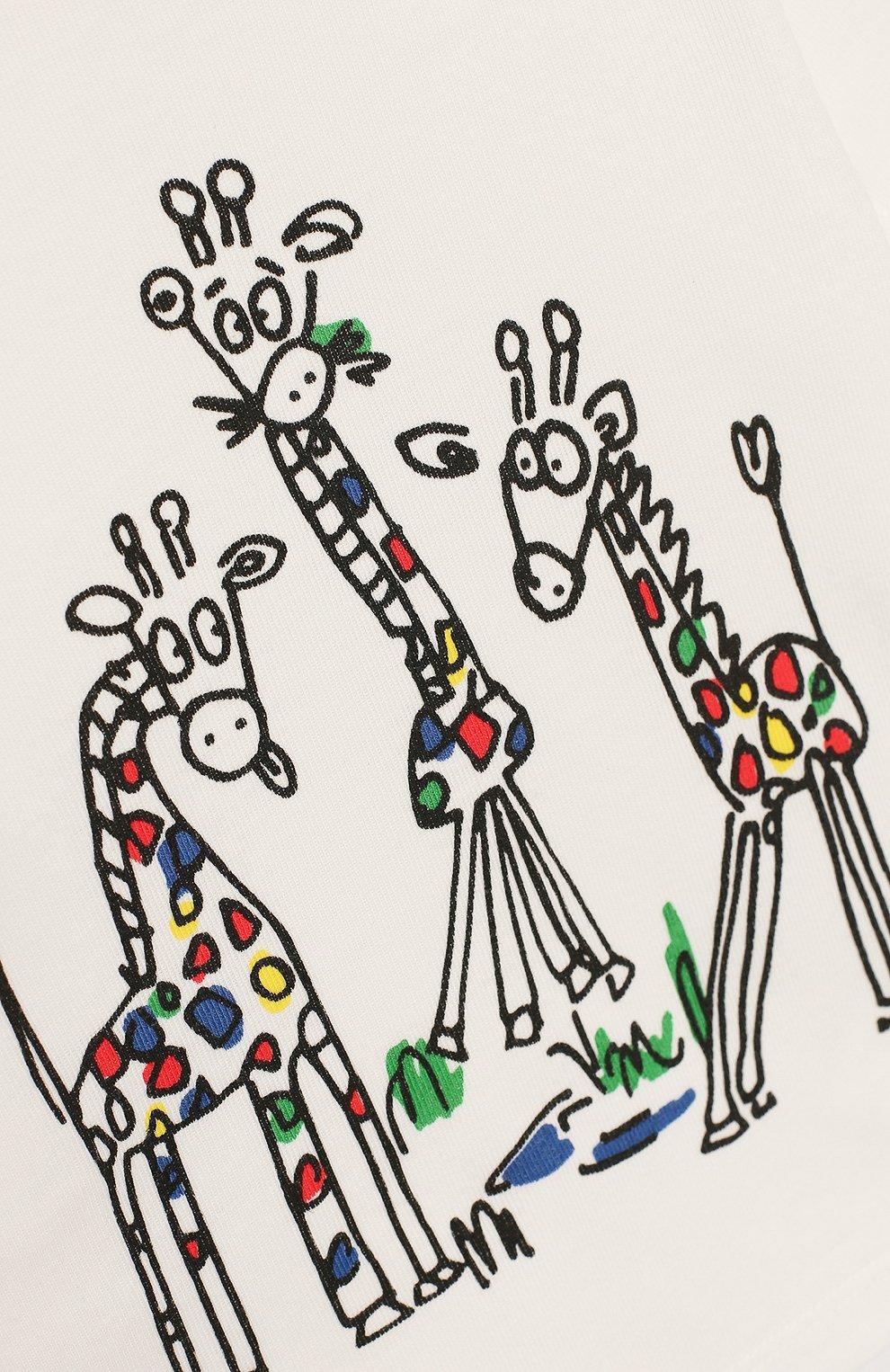 Детский хлопковая футболка STELLA MCCARTNEY белого цвета, арт. 588428/S0JB4 | Фото 3 (Рукава: Короткие; Материал внешний: Хлопок)