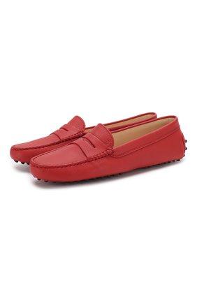 Женские кожаные мокасины gommini TOD'S красного цвета, арт. XXW00G000105J1 | Фото 1