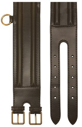 Женский кожаный пояс ALEXANDER MCQUEEN хаки цвета, арт. 610545/1BR00 | Фото 2