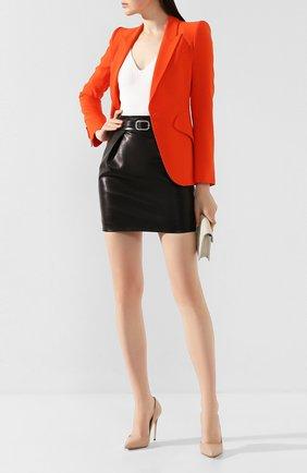 Женская кожаные туфли julia CASADEI бежевого цвета, арт. 1F121D1001MIN0R2801 | Фото 2