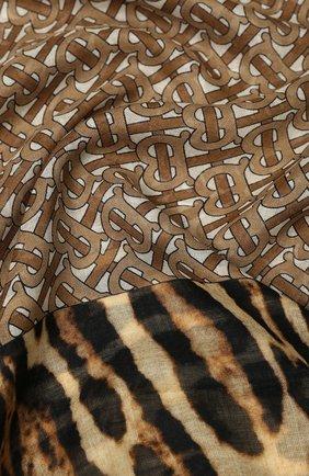 Женский платок из смеси шерсти и шелка BURBERRY бежевого цвета, арт. 8022391 | Фото 2