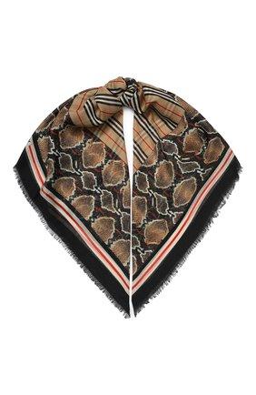 Женский платок из смеси шерсти и шелка BURBERRY бежевого цвета, арт. 8022394 | Фото 1