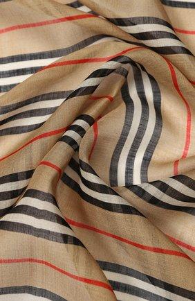 Женский платок из смеси шерсти и шелка BURBERRY бежевого цвета, арт. 8022394 | Фото 2