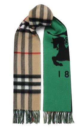 Мужские шарф из смеси шерсти и кашемира BURBERRY зеленого цвета, арт. 8022490 | Фото 1