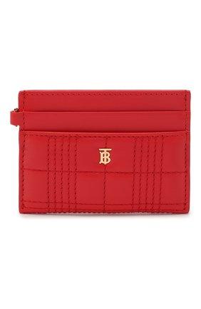 Женский кожаный футляр для кредитных карт BURBERRY красного цвета, арт. 8023347 | Фото 1